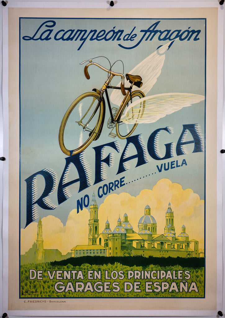 Rafaga Bicycle (1935) - Original and Authentic Vintage Poster