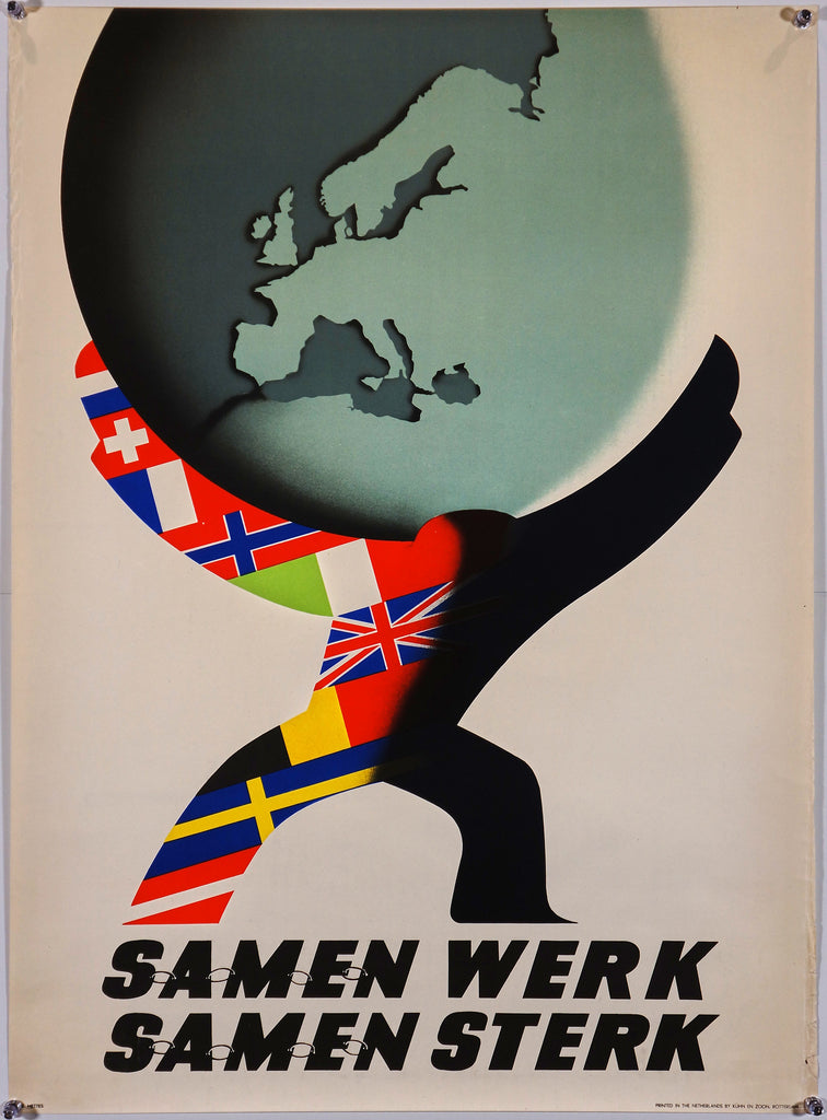 Samen Werk, Samen Sterk (1950) - Original and Authentic Vintage Poster