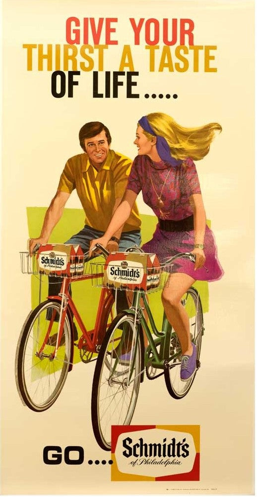 Schmidt's Beer with Bicyles (1960) - Original and Authentic Vintage Poster