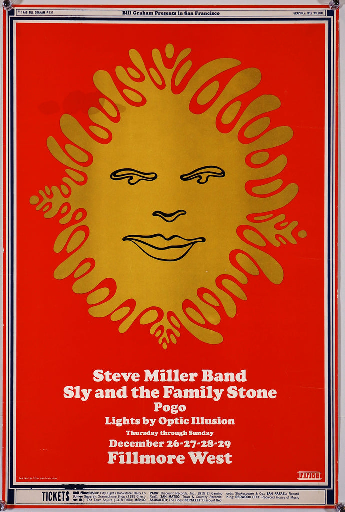 Steve Miller Band, Sly & The Family Stone (1968) - Authentic Vintage Posters