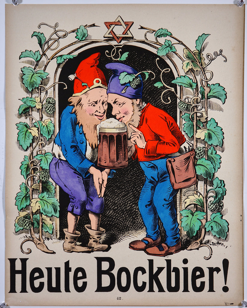 Wissembourg - Heute bockbier! (1880s) - Original and Authentic Vintage Poster
