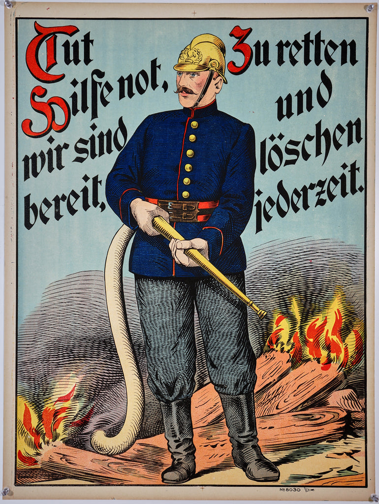 Wissembourg Firefighter No. 8030 (1890s) - Original and Authentic Vintage Poster