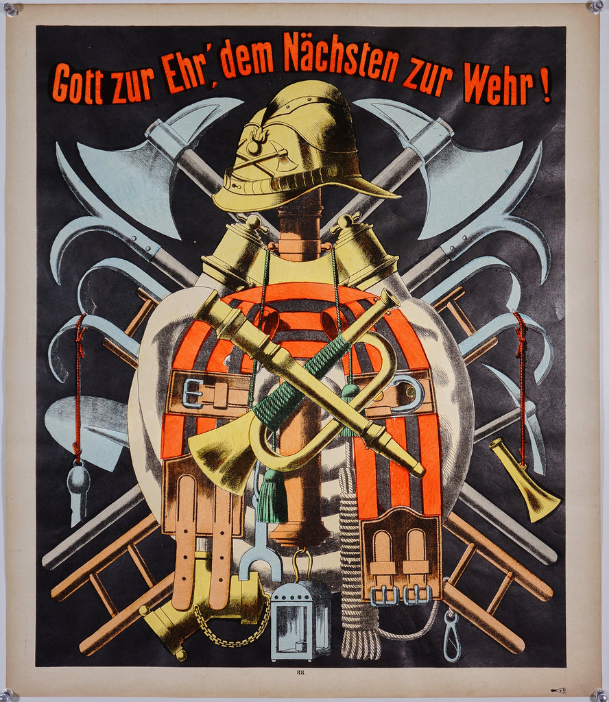 Wissembourg Firefighter Coat of Arms No. 88 (1880s) - Original and Authentic Vintage Poster