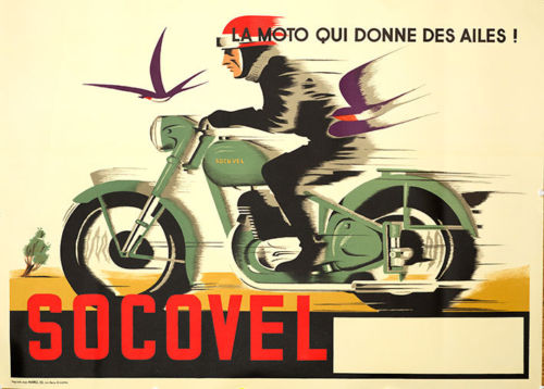 Socovel Motorcycle ad (1940s) - Original and Authentic Vintage Poster