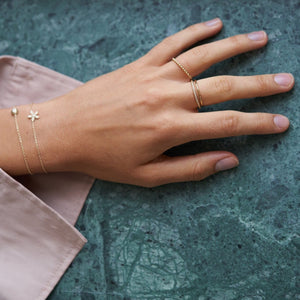 Fine diamond line ring- solid gold