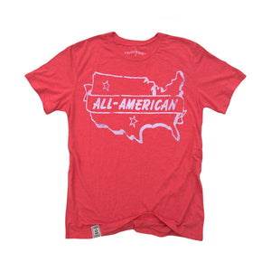 All American: Tri-Blend Short Sleeve T-Shirt in Tri Red - Designer Womens Leggings. Athletic Yoga Pants - TopRank Shop