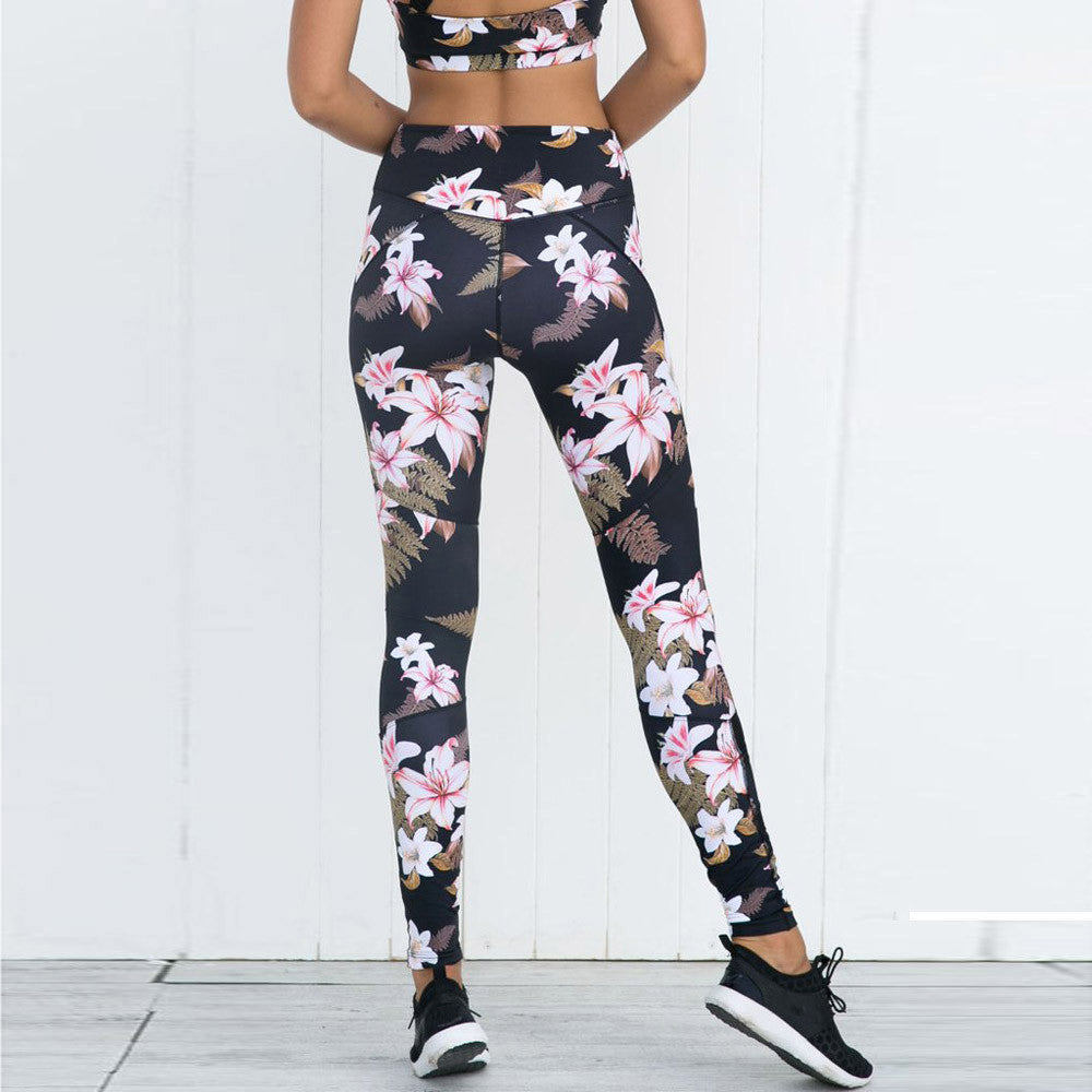 Leggings - Thigh-Cut Floral Yoga Pants - Designer Womens Leggings. Athletic Yoga Pants - TopRank Shop