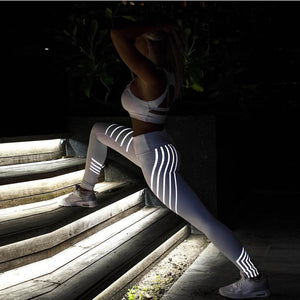 Leggings - Reflective Fitness Running Yoga Pants - Designer Womens Leggings. Athletic Yoga Pants - TopRank Shop