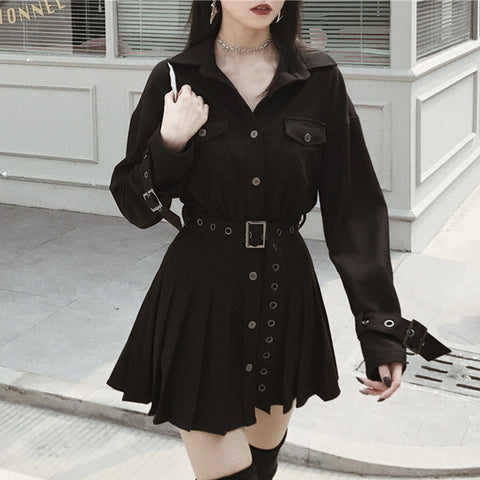 Gothic Pleated Mini Dress
