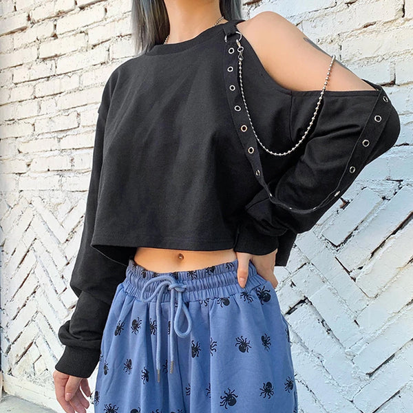 Irregular Metal Chain Crop Top