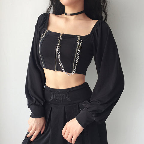 Retro Zipper Chain Crop Tops