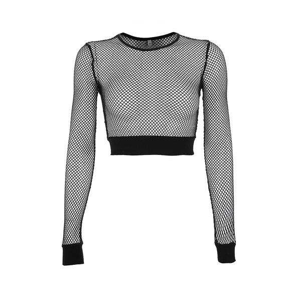 Sexy Hollow Mesh Bottoming Crop Top