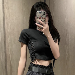 Handsome Style Lace-Up Crop Top/Pocket Shorts