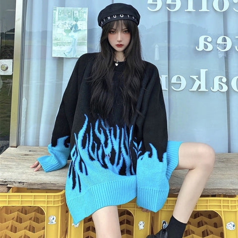 Flame Print Color Block Loose Sweater