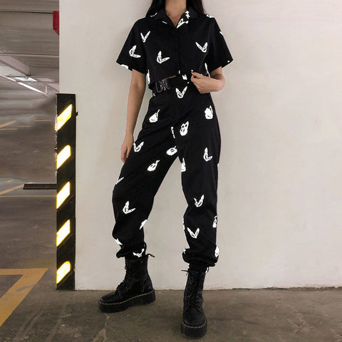 Reflective Butterfly Print Shirt+ Casual Pants Set
