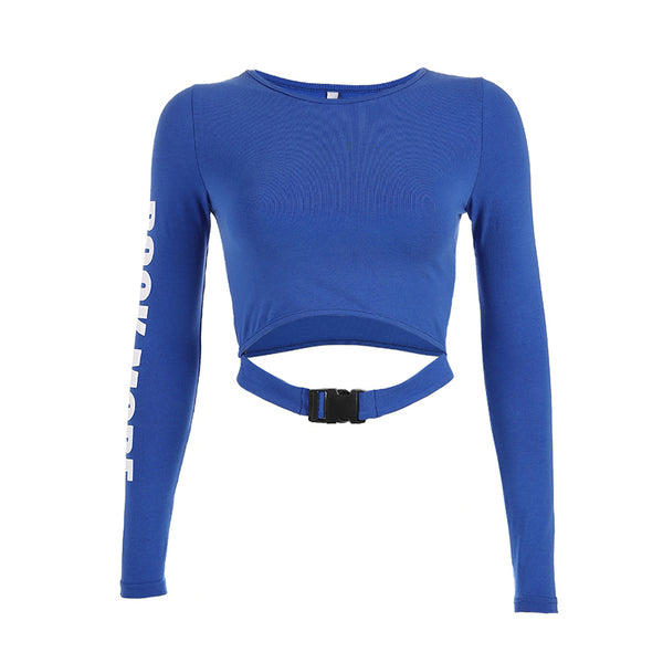 Letter Schoolbag Buckle Slim Crop Top