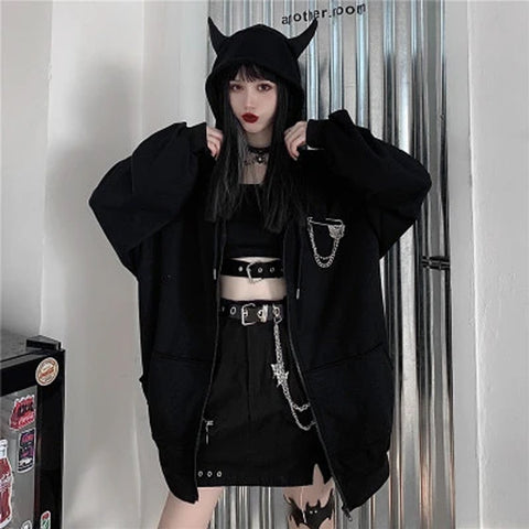 Gothic Devil Pin Hooded Coat