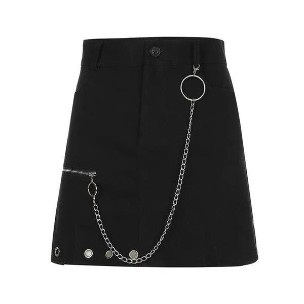Irregular Split Round Ring Zipper Skirt