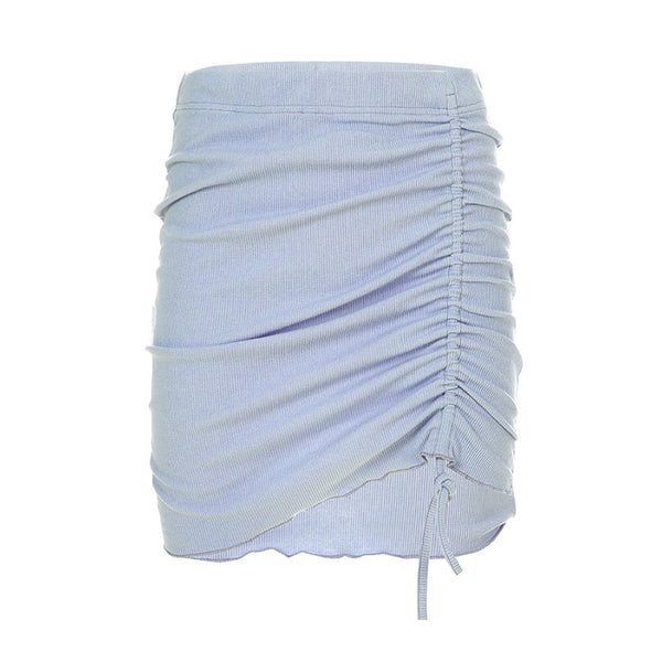 Threaded Drawstring Pleated Skirt