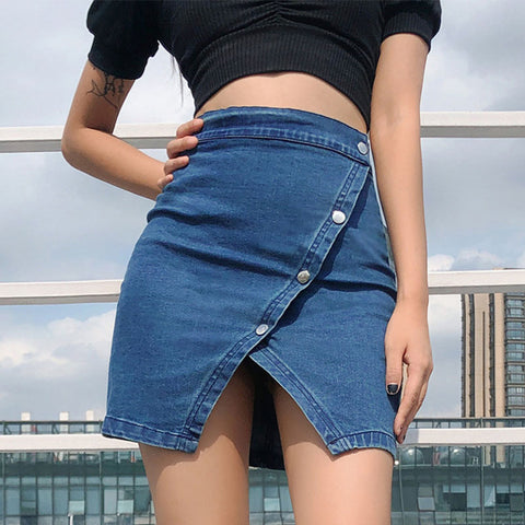 Irregular Diagonal Buckle Denim Skirt