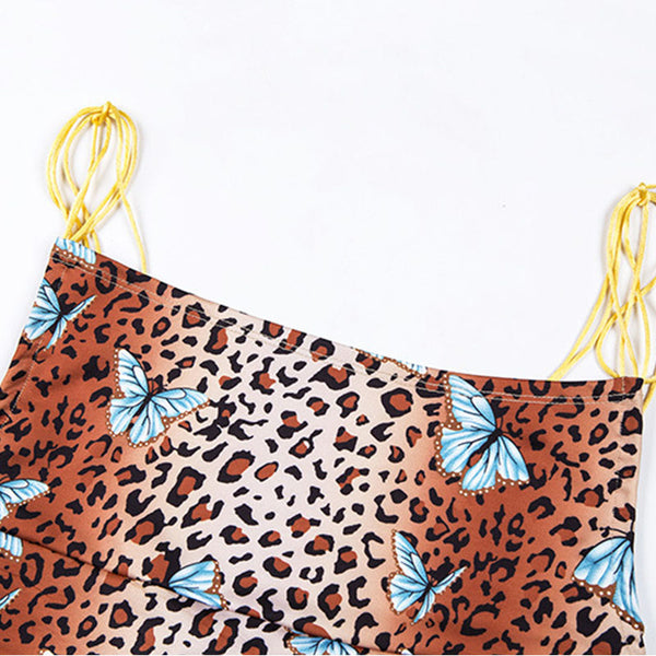 Leopard Butterfly Print Sling Mini Dress
