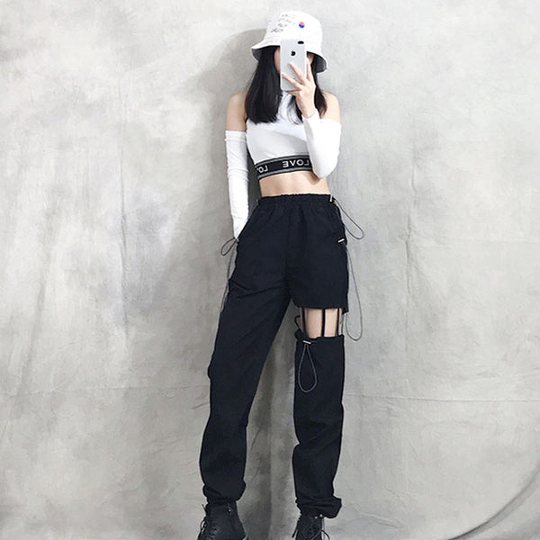 Irregular Hole Cutouts Street Pants