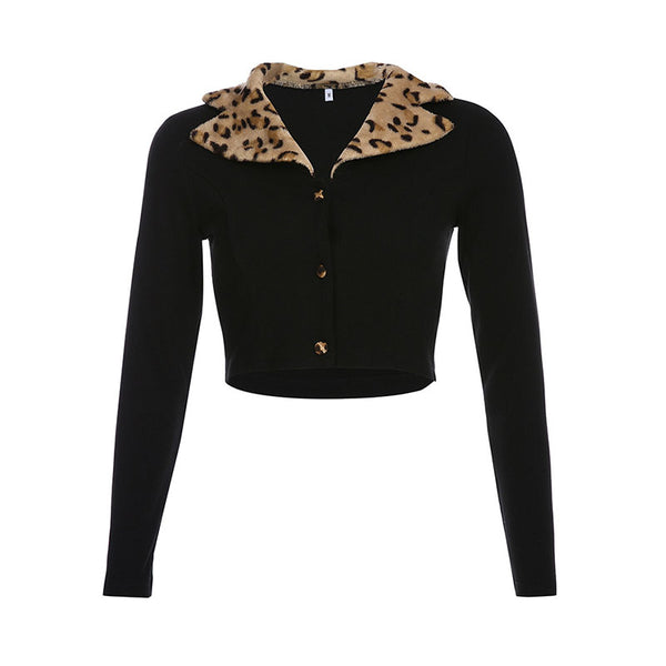 Leopard Splice Lapel Thin Coat