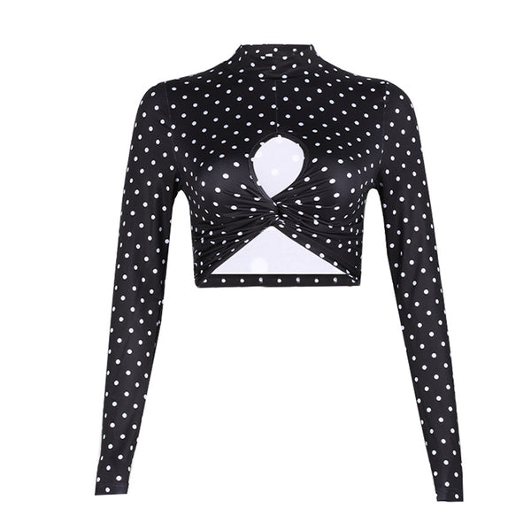 Polka Dot Cutout Crop Top