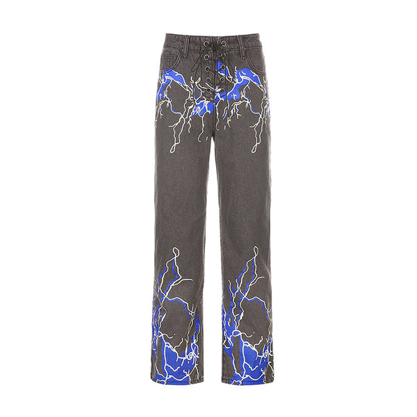 Lightning Print Draped Casual Jeans