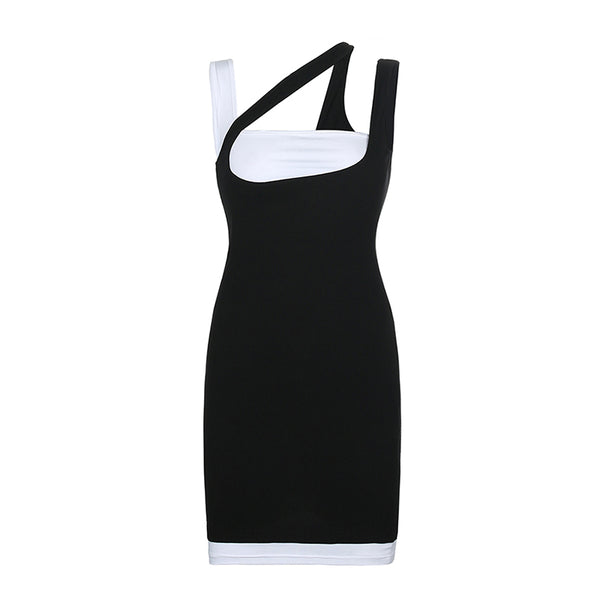 Fake Two-Piece Color Block Mini Dress
