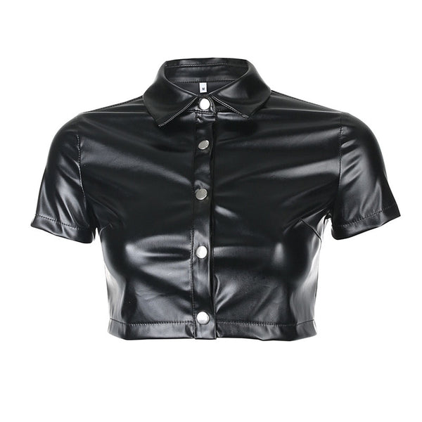 PU Leather Single-Breasted Crop Top