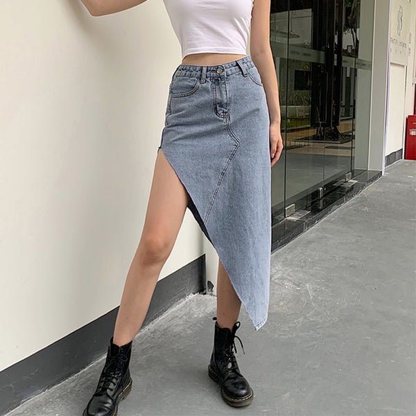 Irregular High Waist Denim Skirt