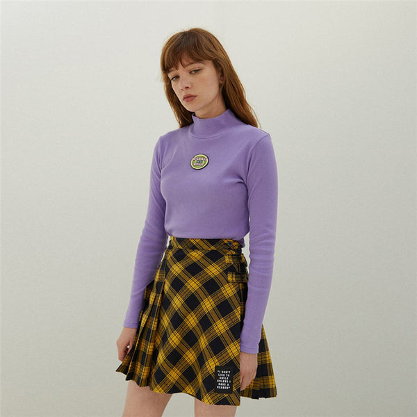High Collar Embroidery Icon Knit Top