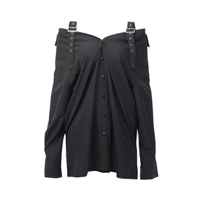Gothic Design Off-Shoulder Long Shirt