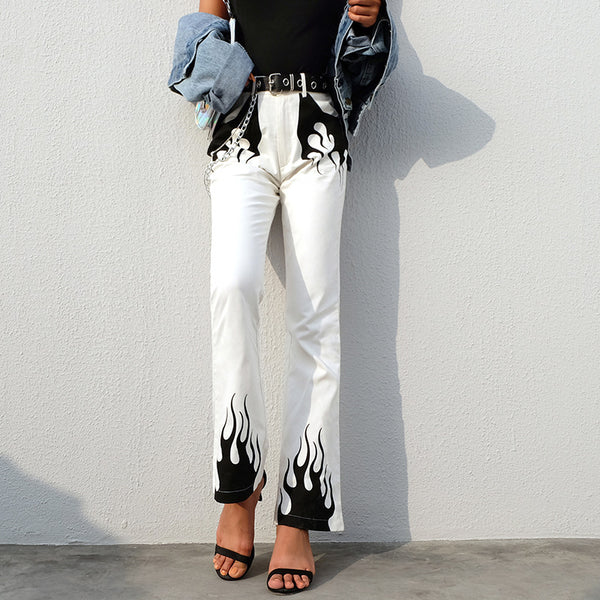 Flame Print Flared Casual Pants