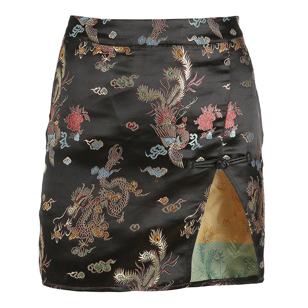 Dragon Print Chinese Skirt