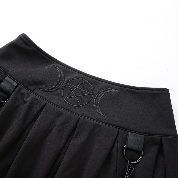 Punk Embroidered Strap Pleated Skirt