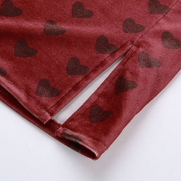 Heart Print Velvet Split Skirt