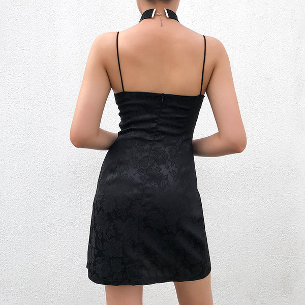 Vintage Satin Slit Sling Dress