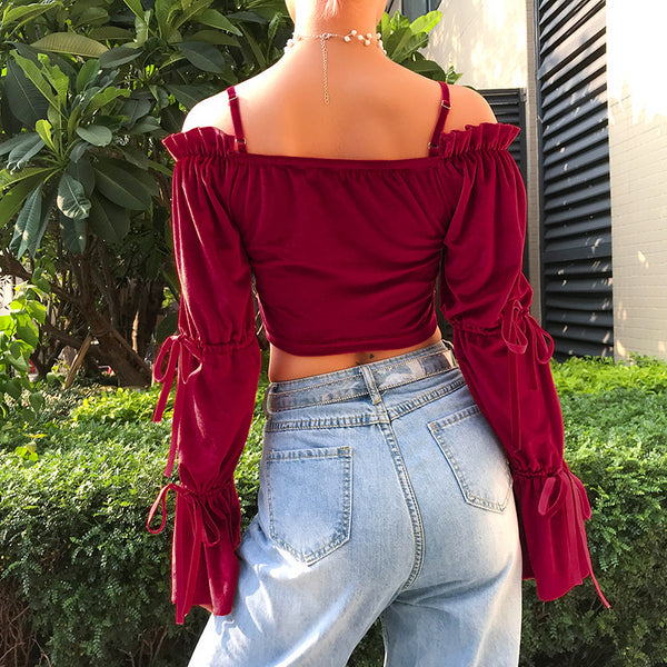 Off Shoulder Velvet Flared Sleeve Top