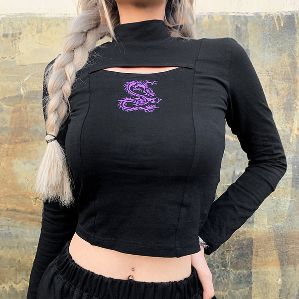 Dragon Print Cutouts Crop Top