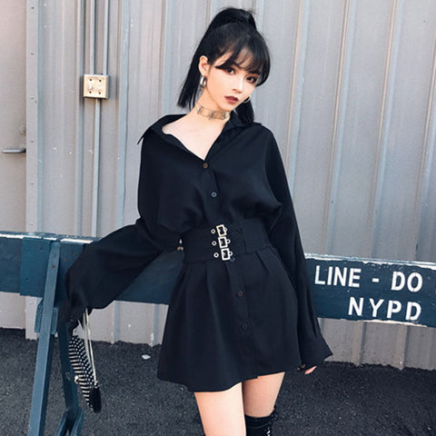 Metal Waist Button Mini Shirt Dress