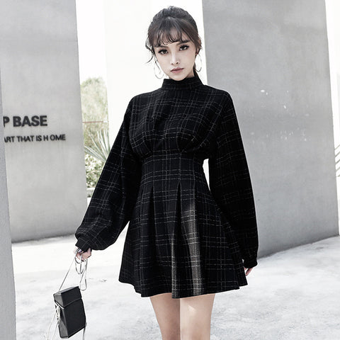 Retro Puff Sleeve Plaid Mini Dress