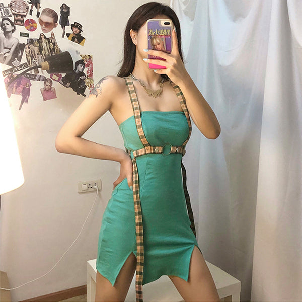 Sexy Color Block Split Mini Dress