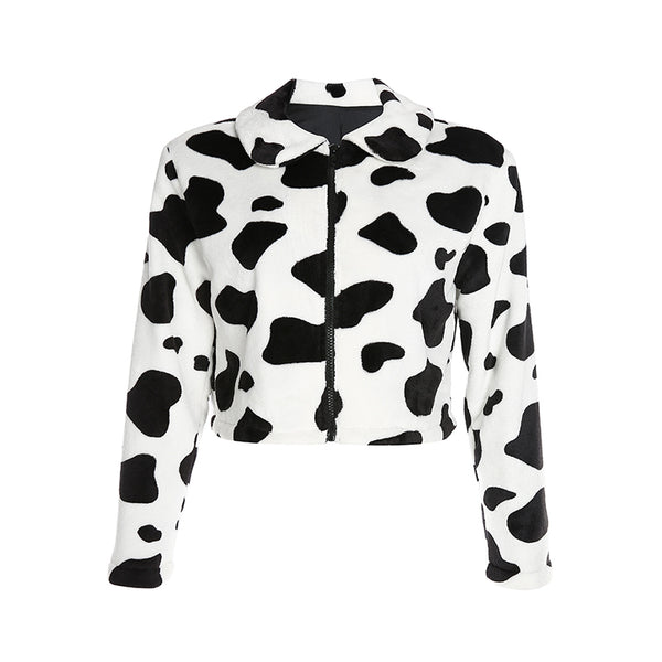 Milk Cow Print Loose Short Coat