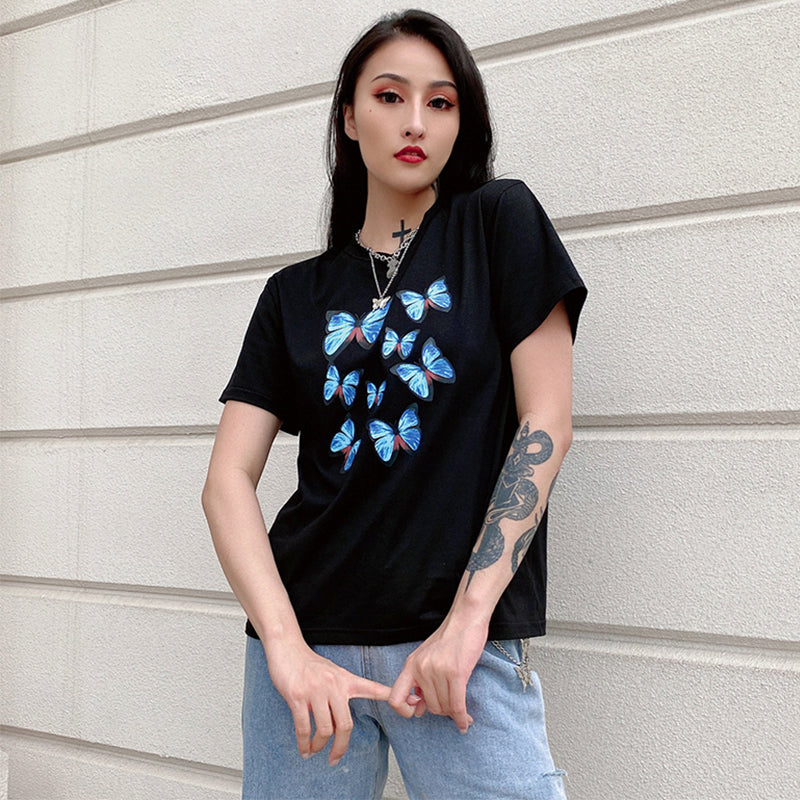 Blue Butterfly Print Loose T-Shirt