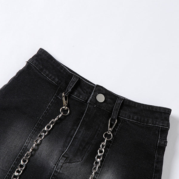 Gradient Chain Denim Skirt