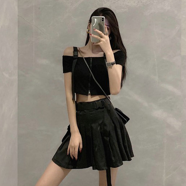 Punk Style Cool Girl Top/Pocket Pleated Skirt