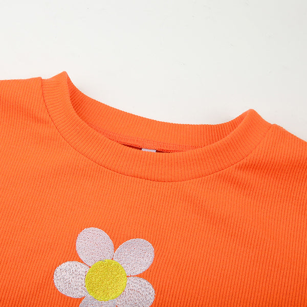 Sun Flower Embroidered Crop Top