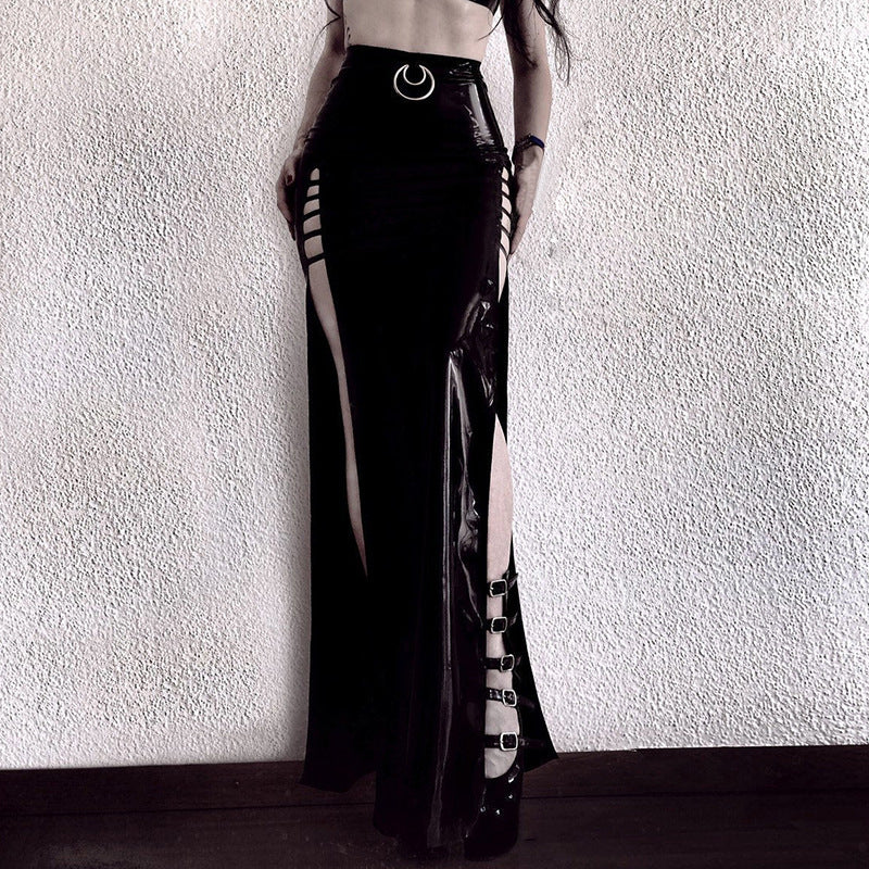 Smooth Patent Leather PU Long Skirt